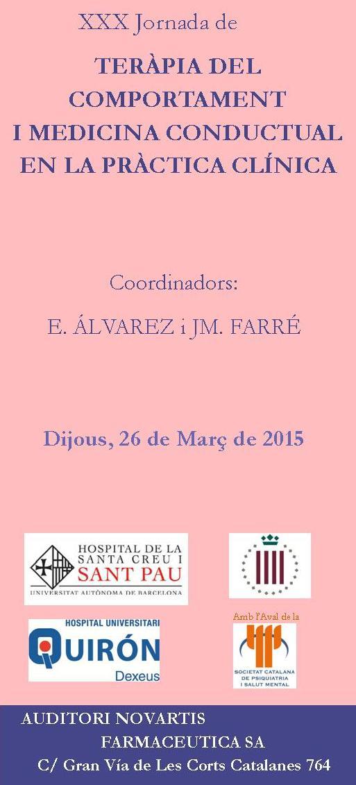 XXX Jornada de Teràpia del Comportament i Medicina Conductual en la Pràctica Clínica